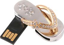 Clé USB Sandale d'or et d'argent - 2 Go