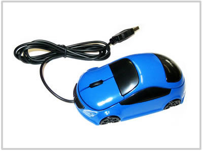 Souris optique voiture Bleue